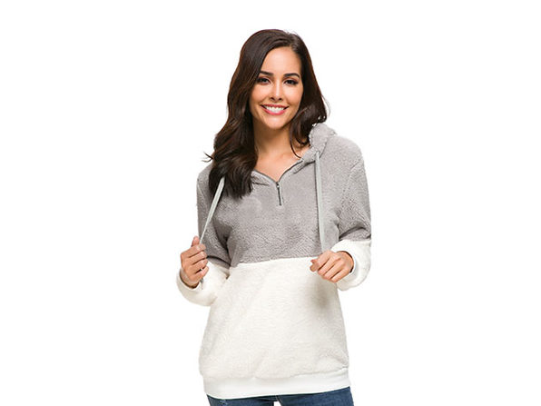 Plush Color Block Pullover Hoodie (Light Grey/XL)