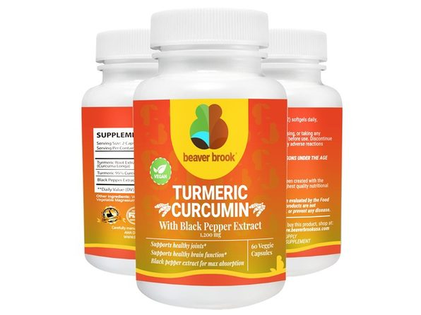 Beaver Brook Turmeric Curcumin With Black Pepper Extract 1200 mg Dietary Supplement - 120