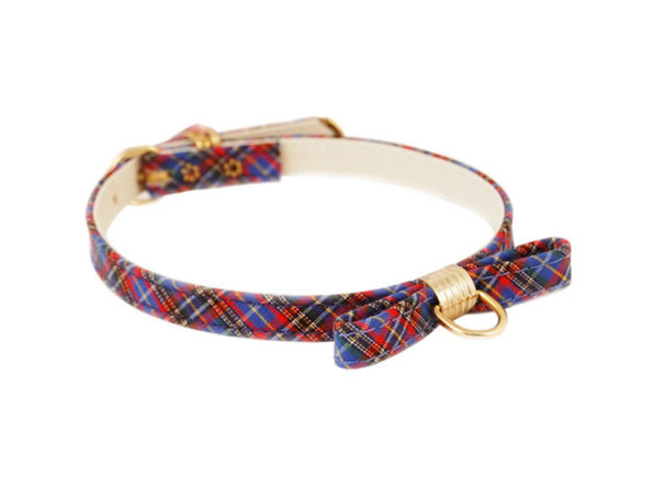 Pet Supply Imports Plaid Blue Scotch Adjustable Fancy Dog Collar with Bow, 14 Inch Neck - Blue