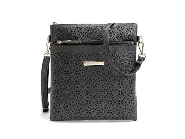 Blossom Handbag With Cut-Out Flower Design (Black)