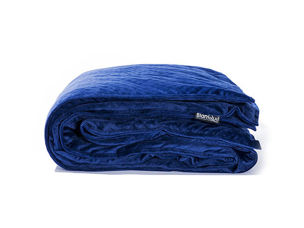 BlanQuil™ Quilted Weighted Blanket with Removable Cover (Navy/15Lb)