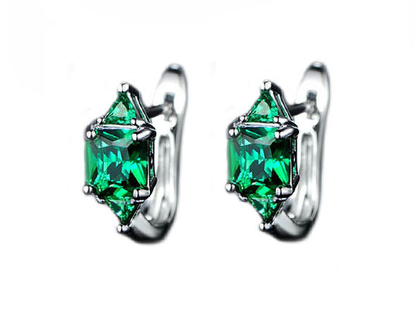 3.00 CTW Princess Cut Emerald Hoop Earrings