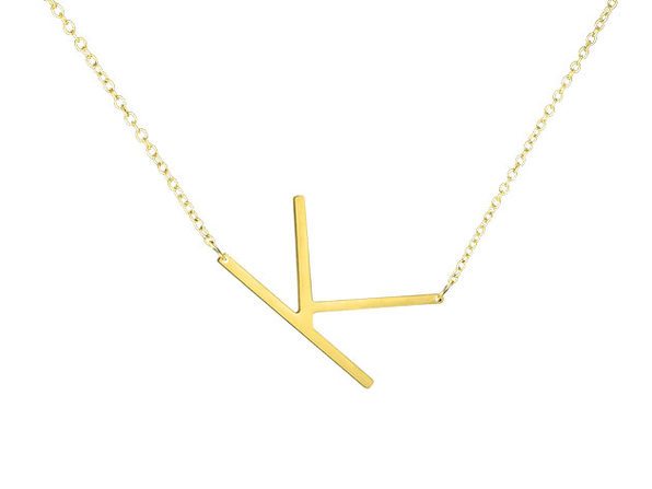 14K Gold Plated Letter Necklace - K - Product Image