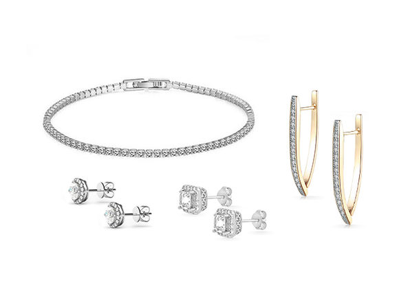 Swarovski Element Earrings & Bracelet 4-Piece Jewelry Bundle (Silver)