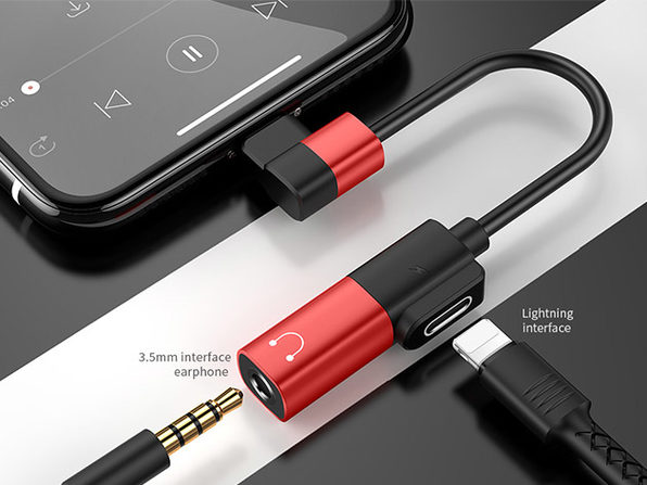 Joyroom 2-in-1 Dual Headphone & Charger Adapter (USB-C/Red)