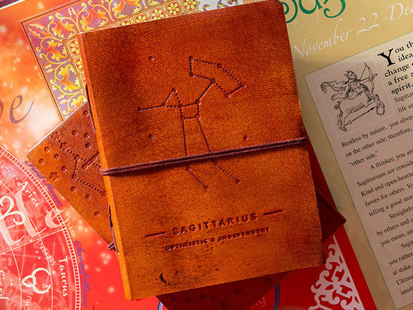 Zodiac Sign Handmade Leather Journal (Sagittarius)