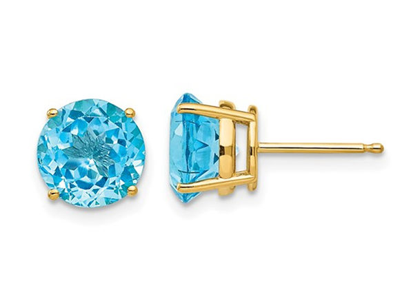 5.00 Carat (ctw) Natural Blue Topaz Stud Earrings in 14K Yellow Gold