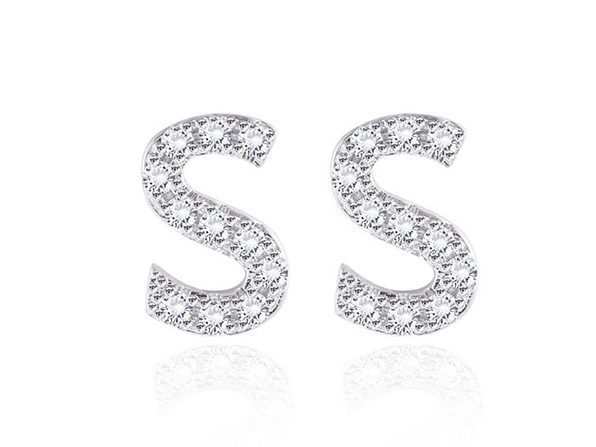 Monogram Initial Stud Earrings with Swarovski Crystals (Letter S)