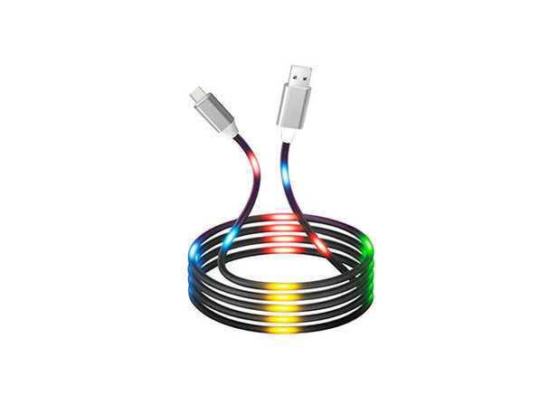 Voice Reactive LED Glowing Data Cables: 2-Pack