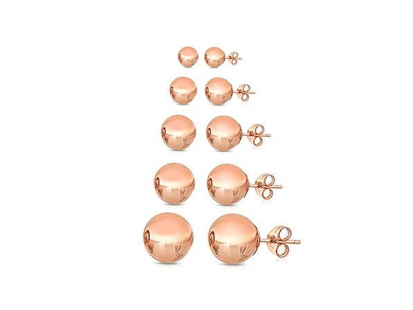 5 Pairs Multi-sized Ball Stud Earrings Rose Gold - Product Image
