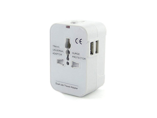 Worldwide Power Adapter and Travel Charger with Dual USB Ports - White - Product Image