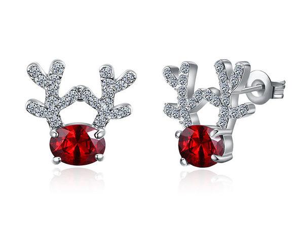 Swarovski Elements Red Stone Pav'e Reindeer Stud Earrings (White Gold)