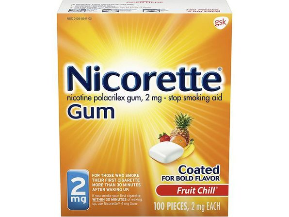 Nicorette 2mg Gum Stop Smoking Aid, Help You Quit Smoking, Fruit Chill, 100 Count