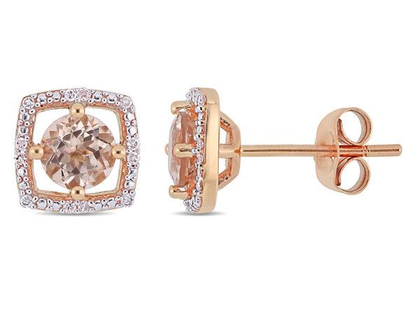 1.00 Carat (ctw) Natural Morganite Halo Stud Earrings in 10K Rose Pink Gold with Diamonds