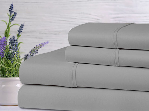 Bamboo 4-Piece Lavender Scented Bed Sheets - Queen - Silver - Product Image