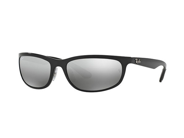 Black Polarized Silver Chromance Wrap Sunglasses
