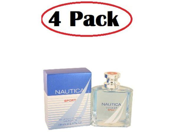 4 Pack of Nautica Voyage Sport by Nautica Eau De Toilette Spray 3.4 oz - Product Image