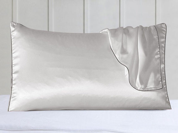 100% Silk Pillowcase Set With Trim White - Product Image