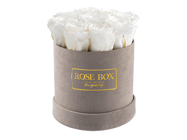Rose Box™ Velvet Gray Box & Long-Lasting Roses