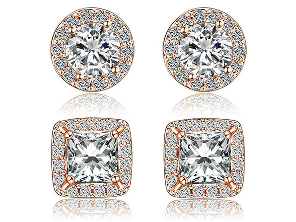 Halo Stud Earrings With Swarovski Elements: 2 Pairs (Rose Gold)