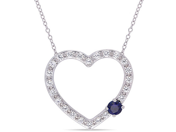 1.10 Carat (ctw) Lab Created Blue and White Sapphire Heart Pendant Necklace in Sterling Silver with Chain