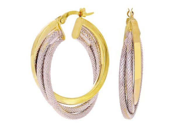 Christian Van Sant Italian 14k Yellow & White Gold Earrings CVE9LSJ - Product Image