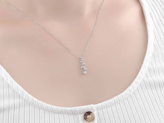 Bubbly 0.47CT Lab-Grown Diamond Pendant Necklace in 10K White Gold