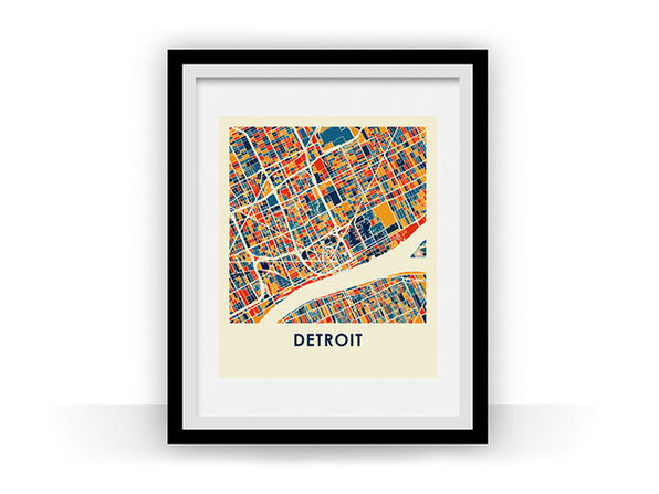 Detroit Prussian Color Map Print (11 x 14)