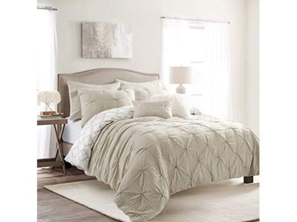 Lush Decor Ravello Pintuck Caroline Geo 7 Piece Comforter Set, King - Neutral