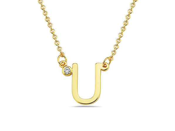 18K Gold Plated CZ Initial Necklaces - U - Product Image