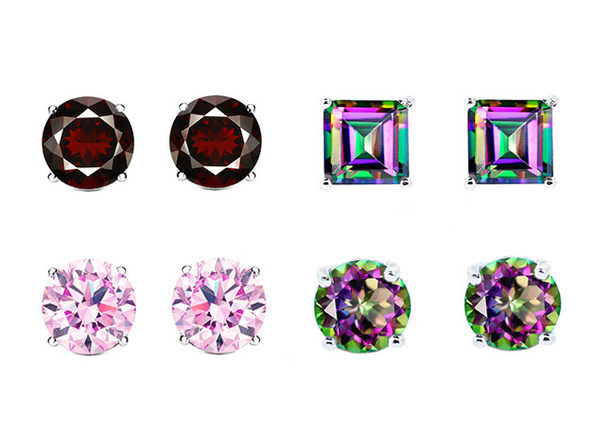 1CT Sterling Silver Gemstone Stud Earrings