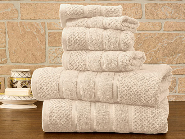 6-Piece Bibb Home 100% Egyptian Cotton Towel Set (Ivory)