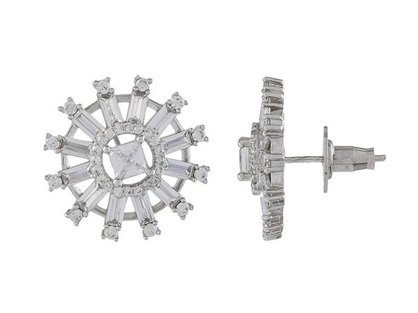 Round Baguette Princess Cut Cubic Zirconia Stud Earrings (Silver)