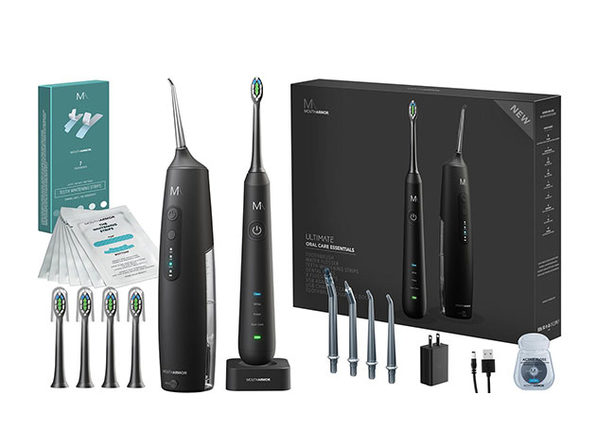 Mouth Armor Electric Toothbrush + Floss + Whitening Strips Combo Pack