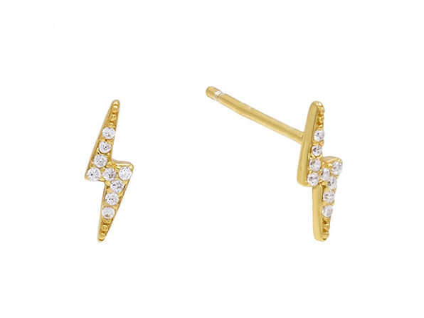 Swarovski Crystal Pave Lighting Bolt Stud Earrings Gold - Product Image