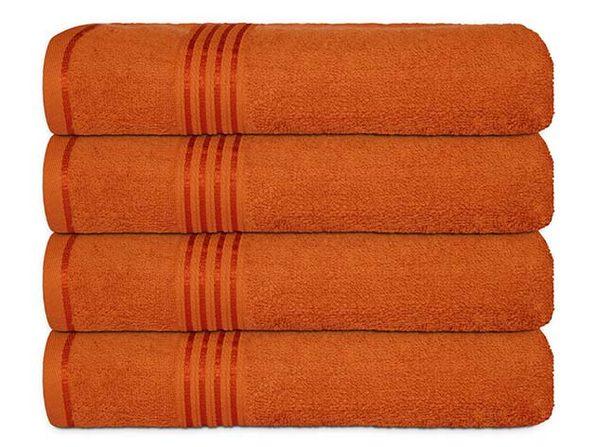 Hurbane Home 4 Piece Bath Towel Set Orange - Product Image