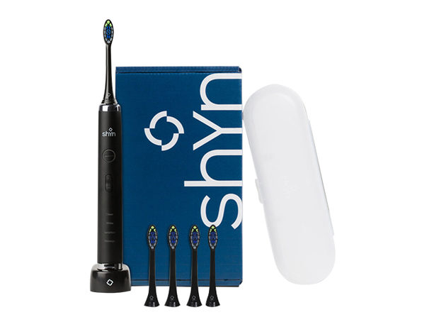 Shyn Sonic Rechargeable Electric Toothbrush with 4 Anti-Plaque Brush Heads, Travel Case & Charger (Black)