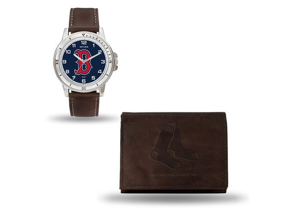 MLB Mens Boston Red Sox Brown Leather Watch/Wallet Set - Product Image