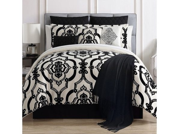 VCNY Home Zuri 14 Piece Comforter Set Queen Black