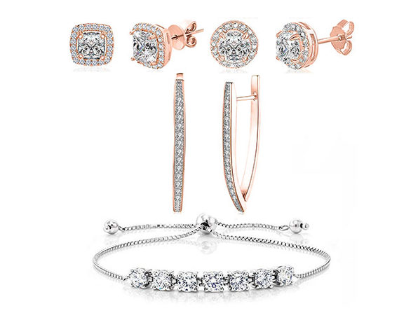 Swarovski Crystal Earrings & Princess Tennis Bracelet Jewelry Set (Rose Gold)