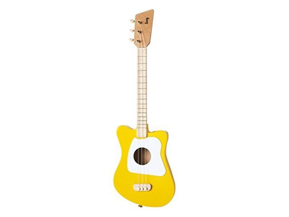 Loog Mini Acoustic Kids Guitar for Beginners Real Wood Low String Yellow (Distressed Box)