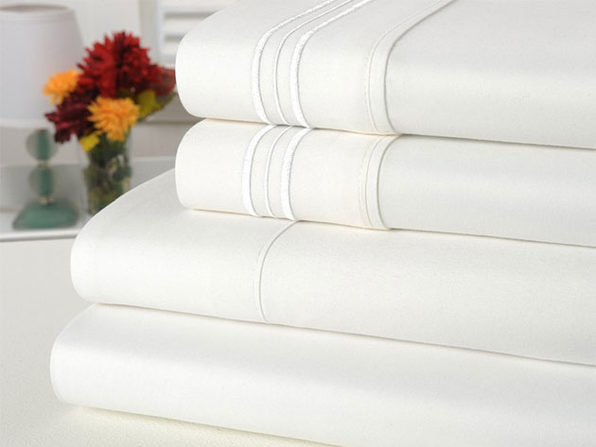 Bamboo Comfort 4 Piece Solid Sheet Sets- Full- White - Product Image