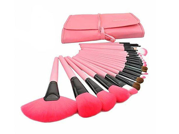 24-Piece High Quality Makeup Brush Set (Pink)