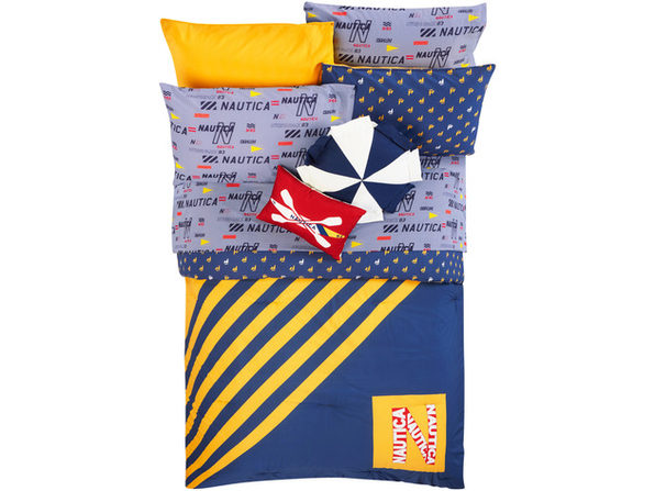 Nautica Kids Reversible Flag Diagonal Stripe 100% Fine Imported Cotton Comforter Set