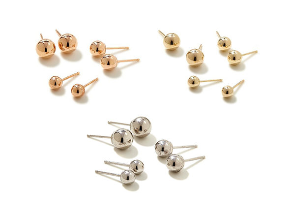 Gold Ball Earrings: Set of 3 Pairs in 14K Yellow, Rose & White Gold