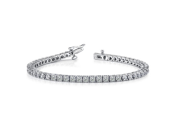 Round Tennis Bracelet in White Gold