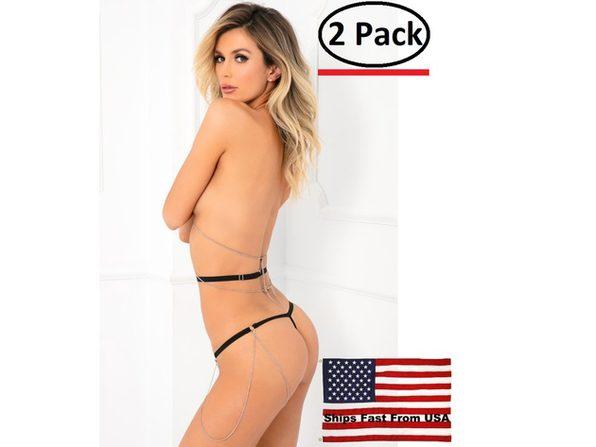 ( 2 Pack ) 2pc Chain Body Jewelry Bondage Set - One Size - Black