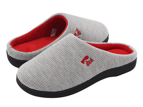 RockDove Women's 2-Tone Memory Foam Slippers | Gray/Red (Size 11-12)