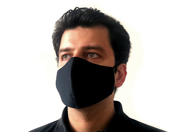 3-Layer Woven Face Mask - Adult, Black (5-pack)