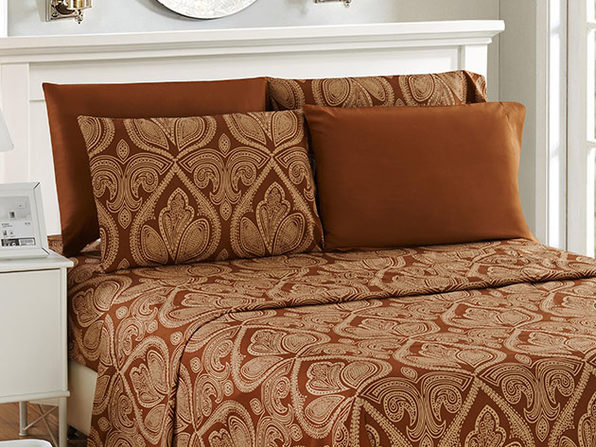 Paisley Sheet 6 Pcs Chocolate - Queen - Product Image